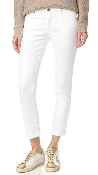 AG Stilt Cigarette Roll Up Jeans - White
