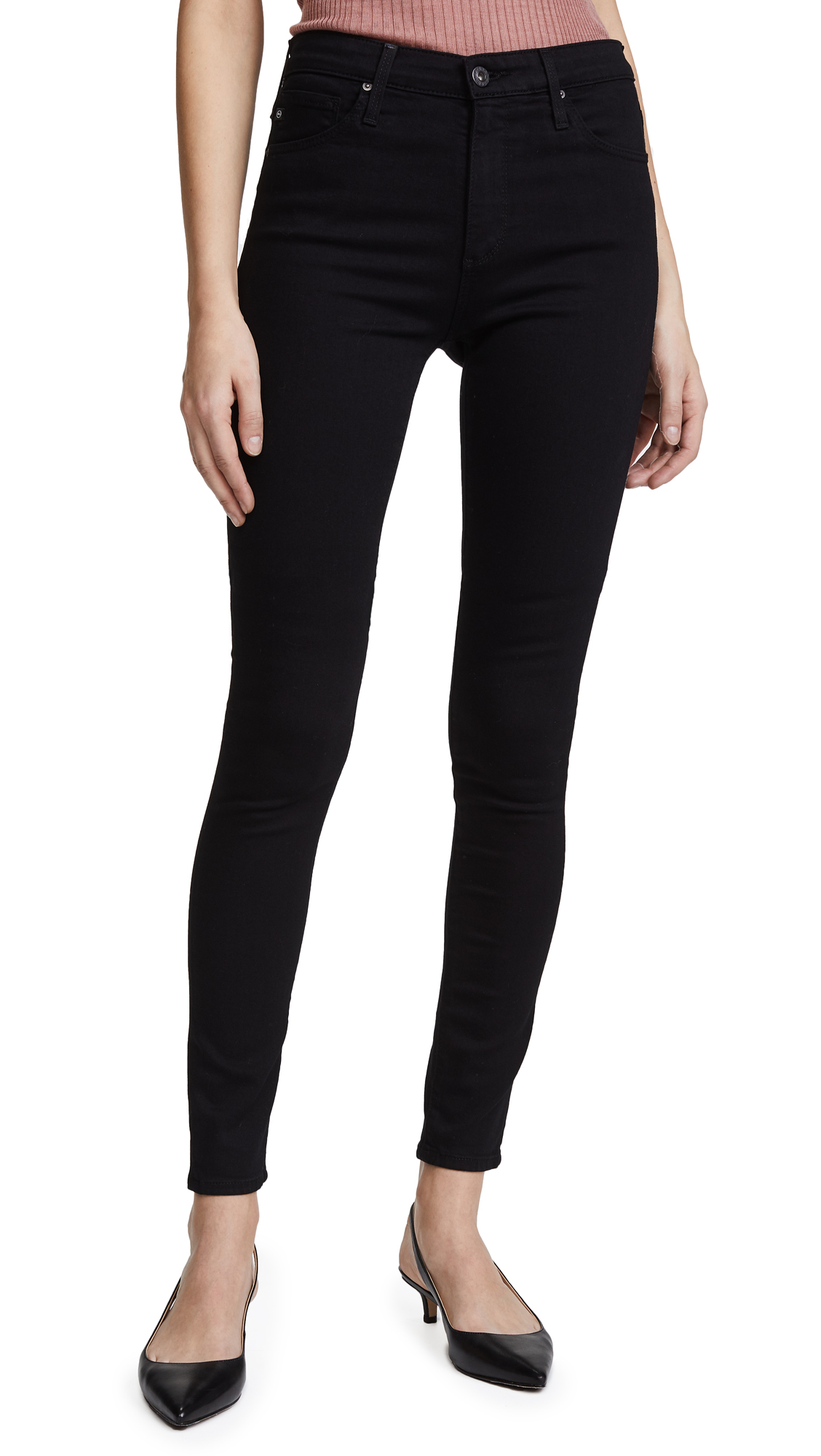 AG Superior Stretch Farrah High Rise Jeans - Super Black