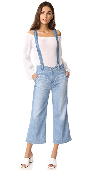 AG The James Suspender Wide Leg Crop Overalls In Sunward