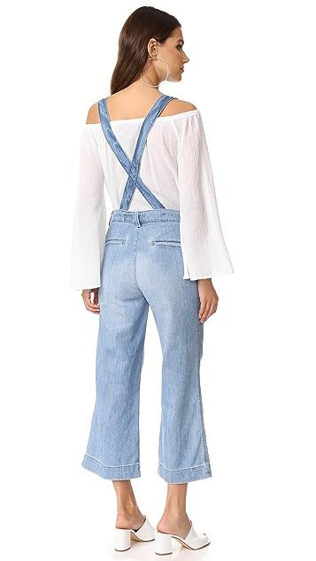 AG The James Suspender Wide Leg Crop Overalls