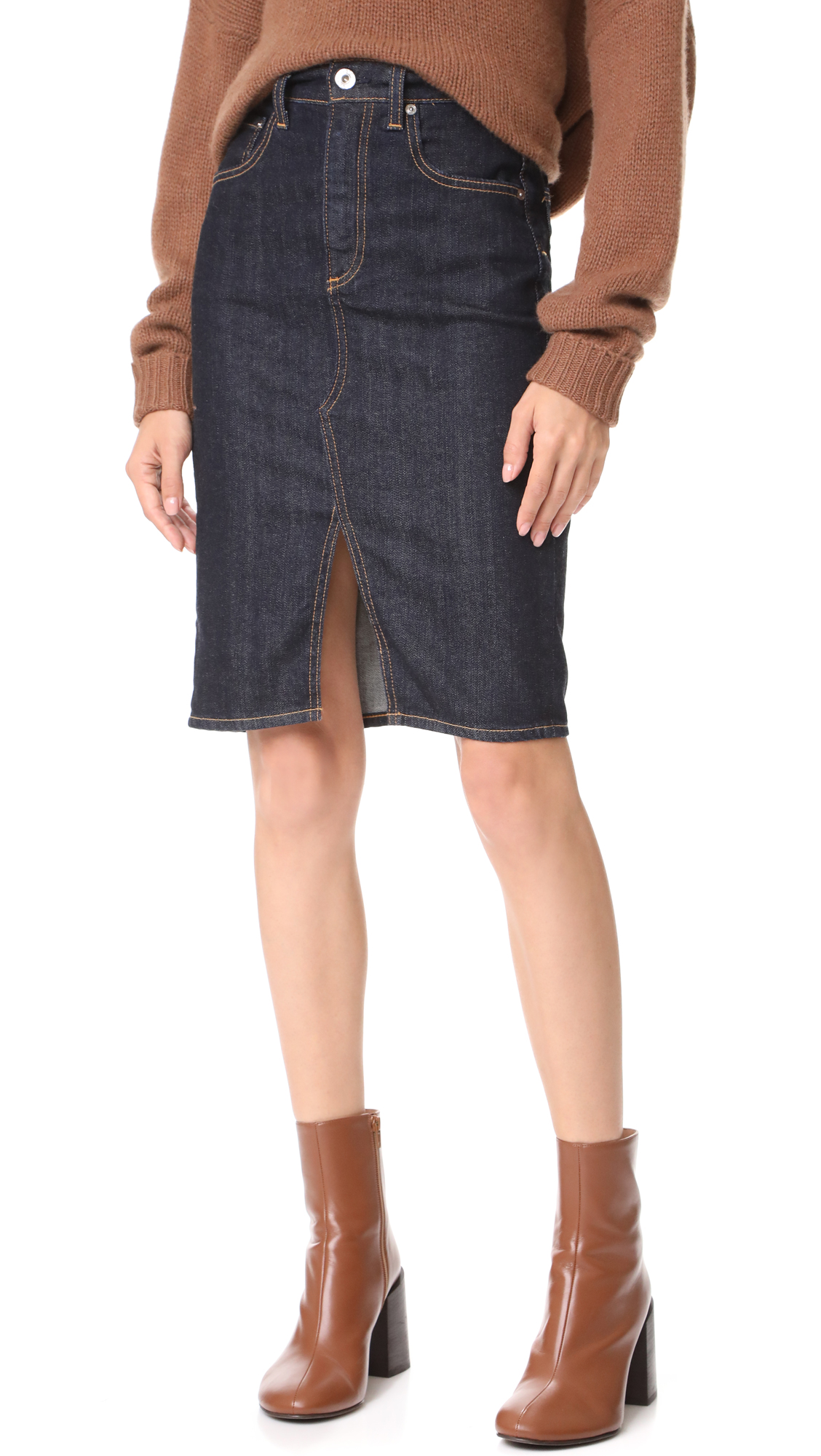 AG Emery High Waisted Pencil Skirt In Indigo Autumn
