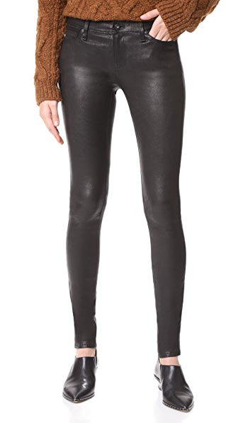 AG The Skinny Leather Pants In Super Black