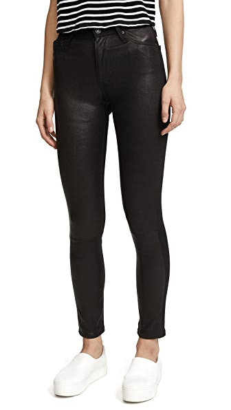 AG Farrah Leather Skinny Jeans In Leather Super Black