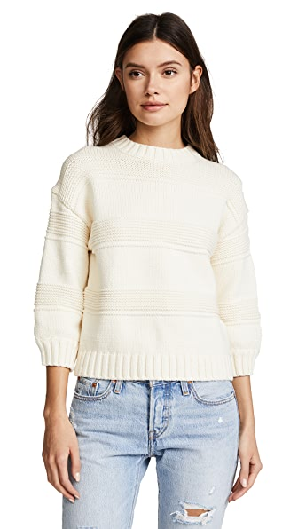 AG Sabrina Crew Sweater In Bright Cream