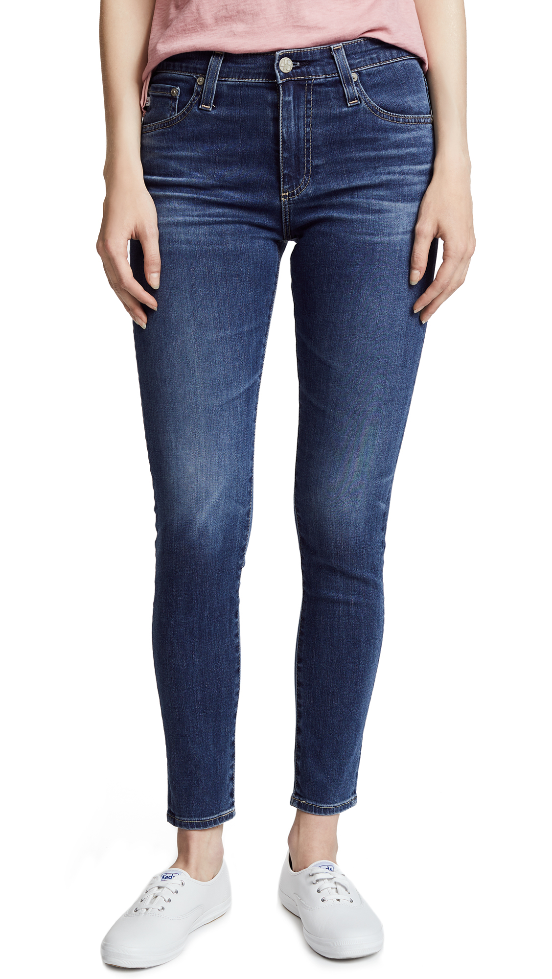 AG The Farrah Ankle Skinny Jeans In 10 Years Sea Mist