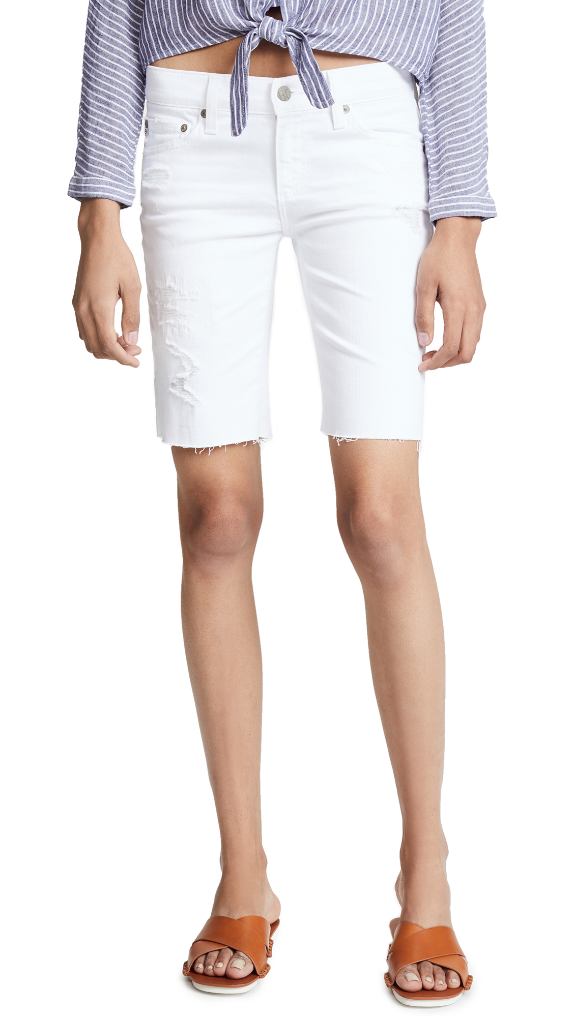 AG The Nikki Shorts In 1 Year White Mended