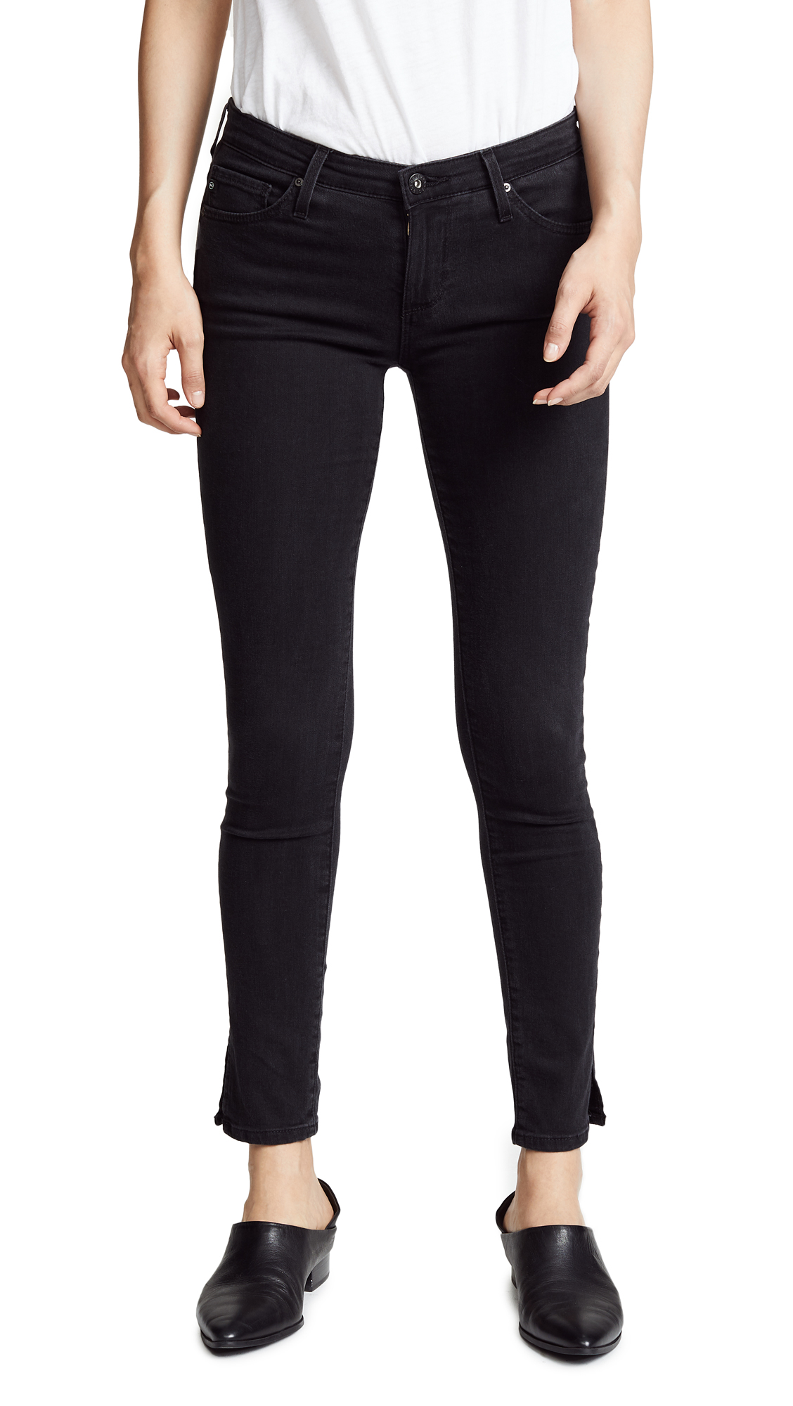 AG Ankle Skinny Jeans with Slits - Desolation