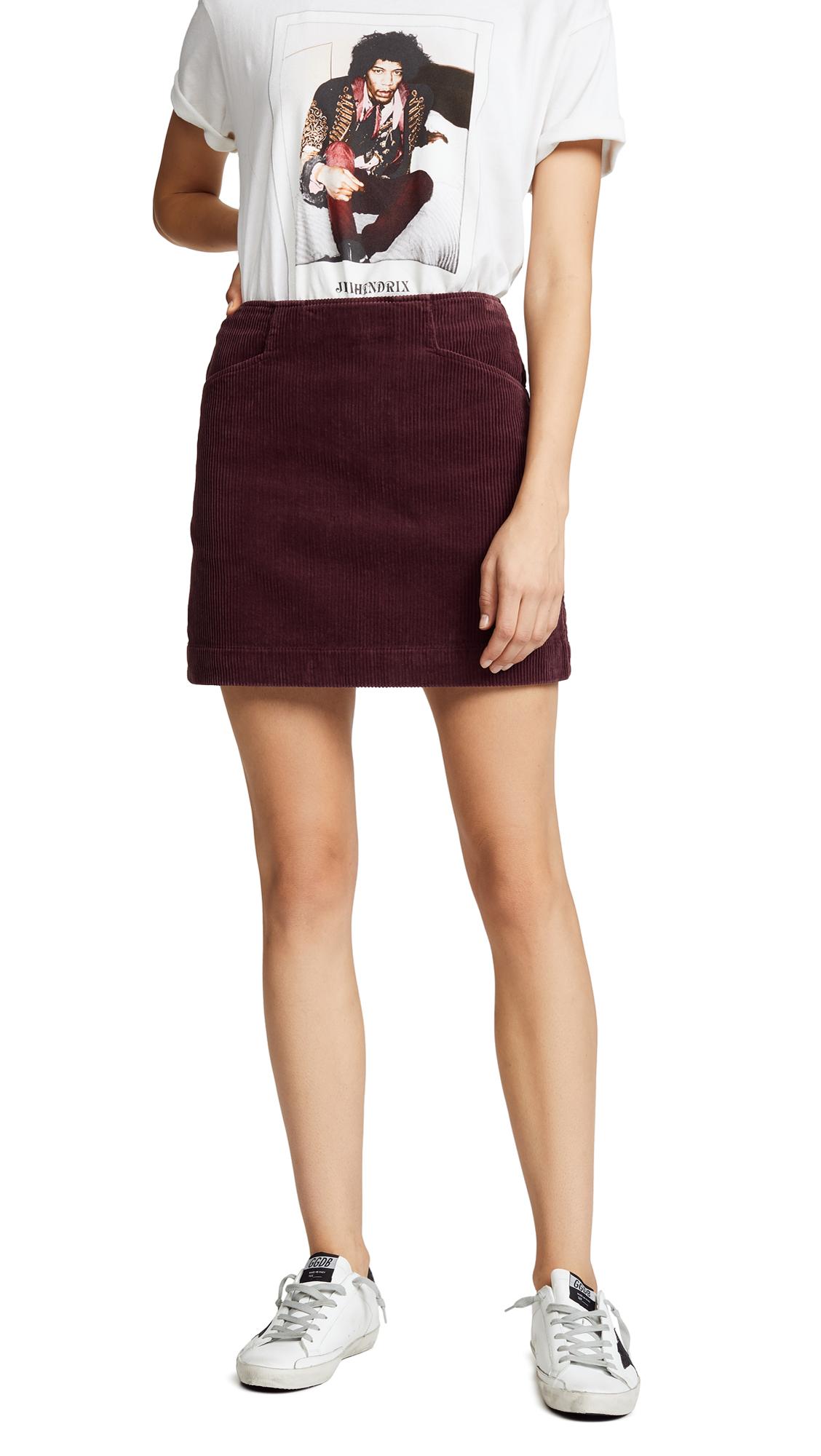 AG The Bernadette Corduroy Skirt In Rich Carmine