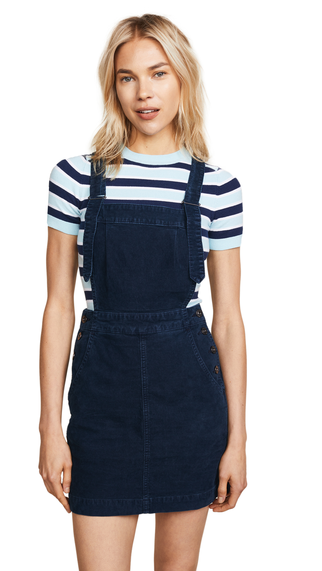 AG Jacs Corduroy Overall Pinafore Dress In Sulfur Blue Vault