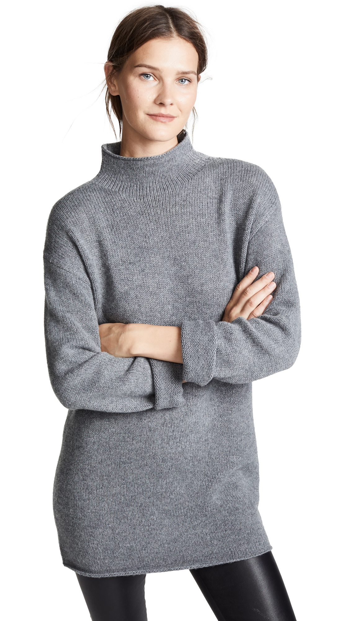 AG Amity Sweater Tunic In Heather Grey