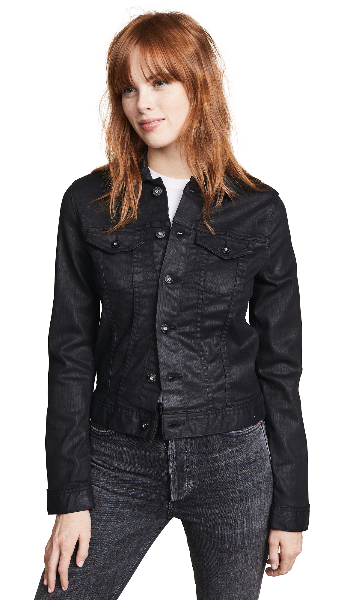 AG The Coated Robyn Jacket In Lacquered Super Black