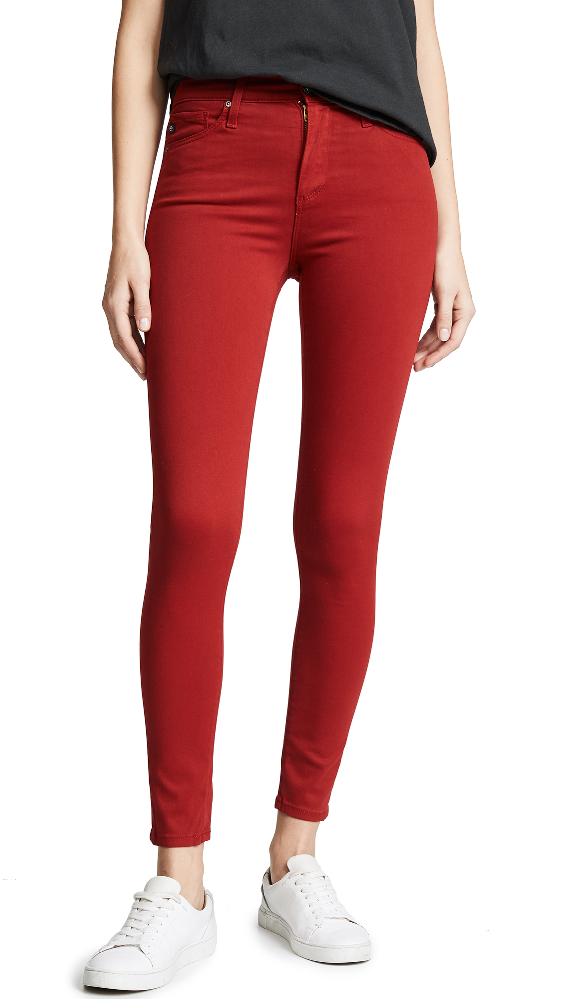 AG The Farrah Skinny Ankle Jeans - Red Amaryllis