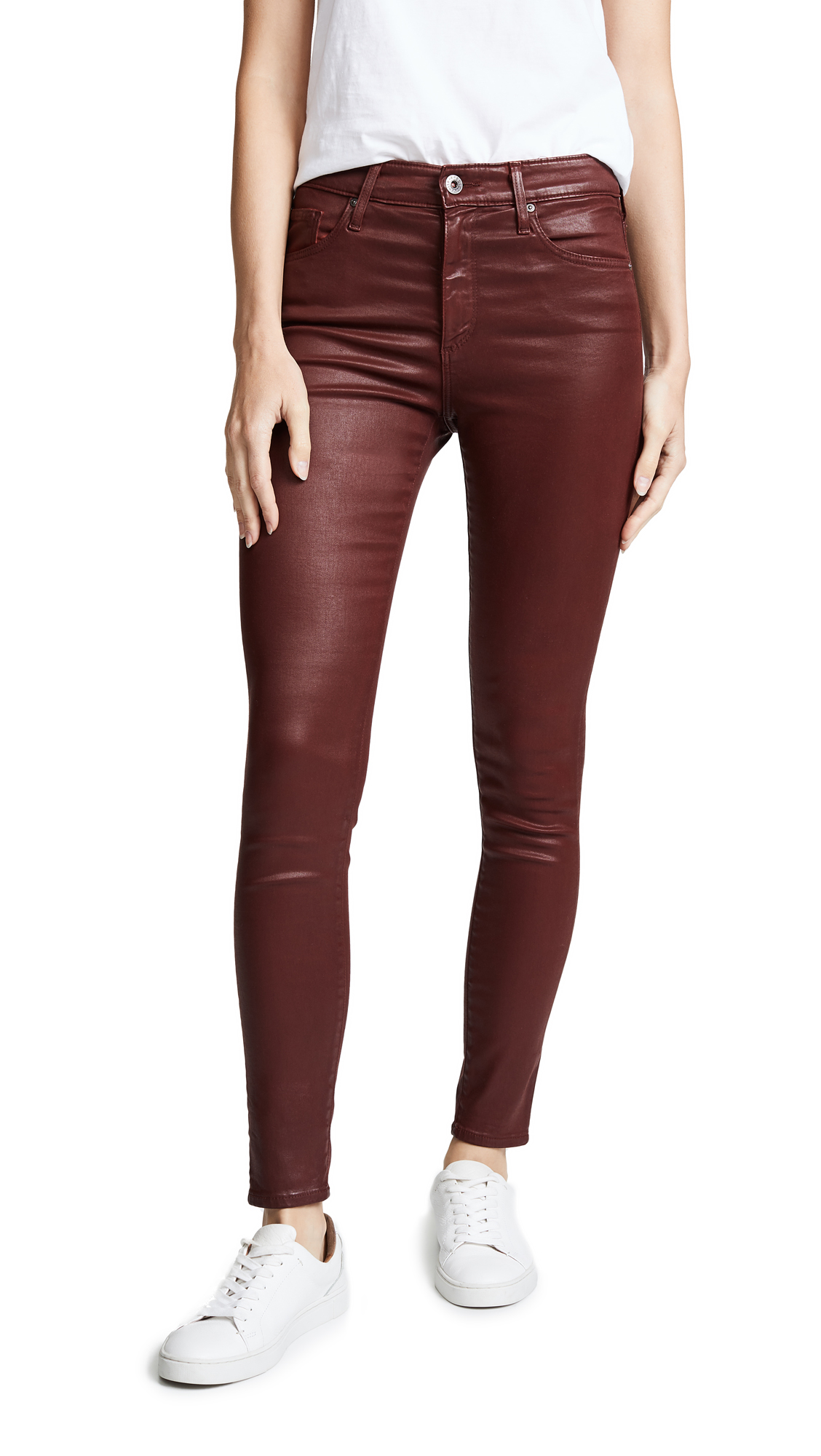 Farrah Ankle Leatherette Skinny Jeans