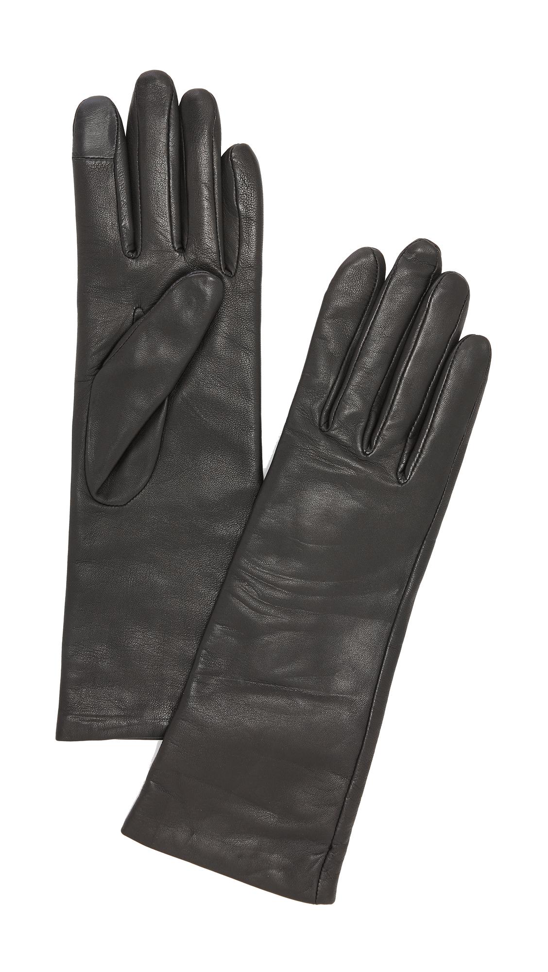 Agnelle Christina Leather Texting Gloves - Black