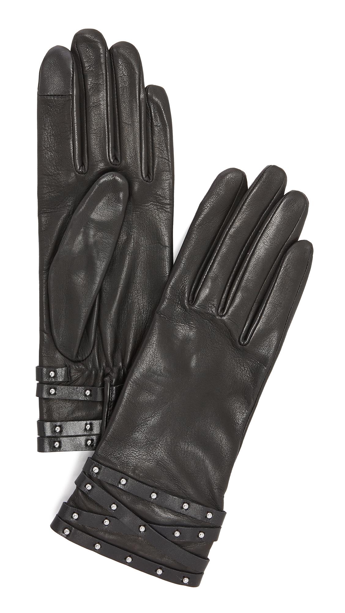 Agnelle Clou Rock Leather Gloves