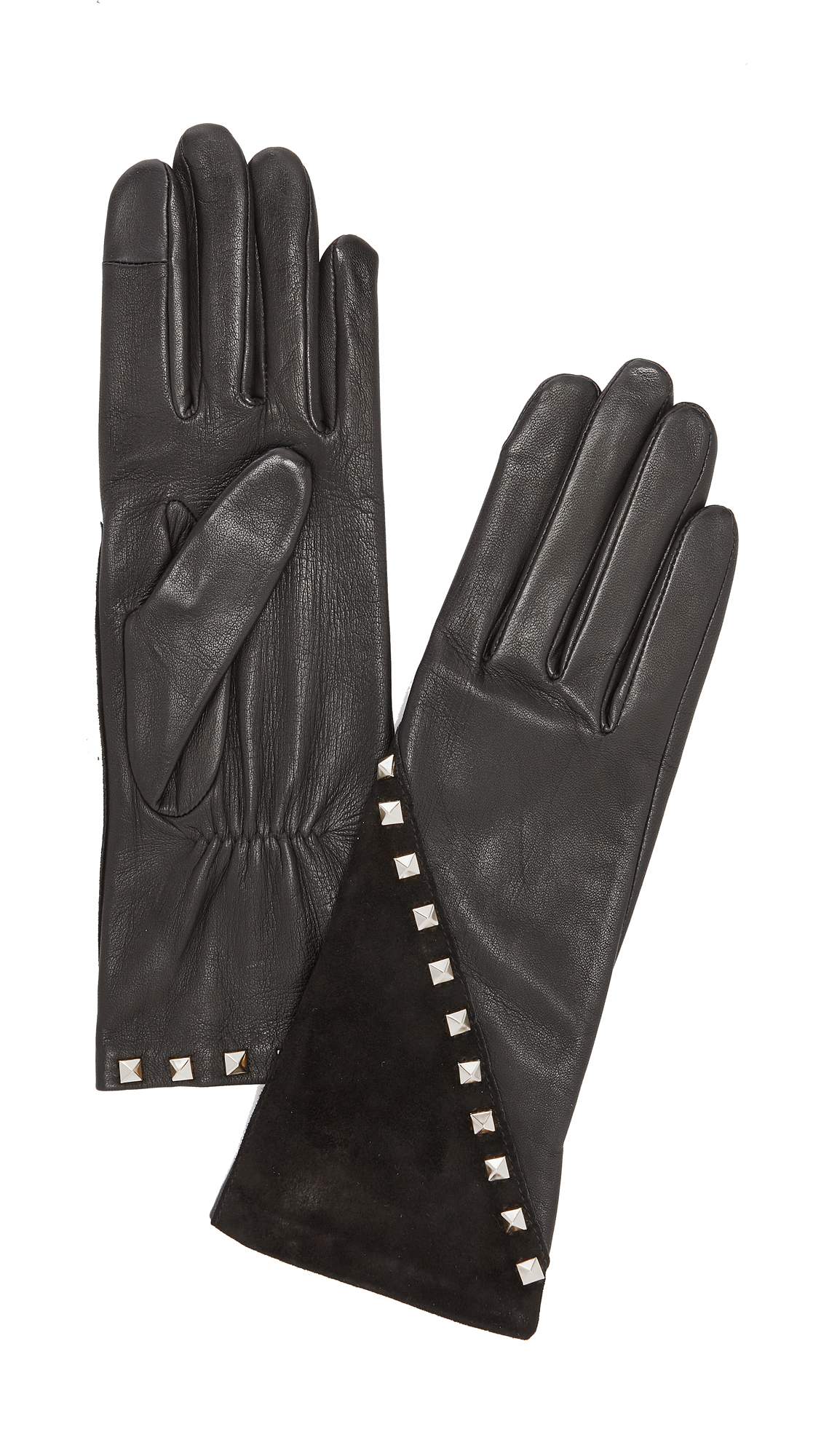 Agnelle Coralie Stud Leather Gloves - Black