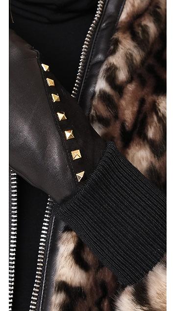 Agnelle Coralie Stud Leather Gloves