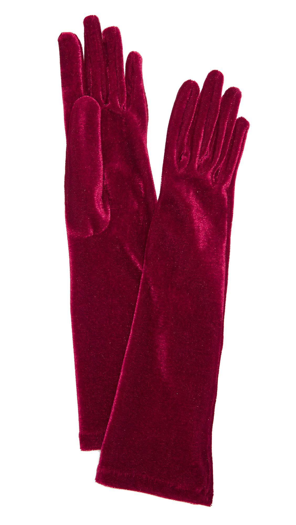 Agnelle Celia Velvet Gloves - Red