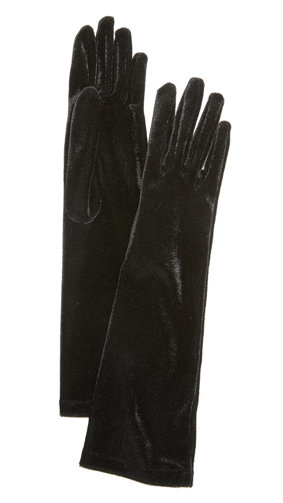 Agnelle Celia Velvet Gloves - Black