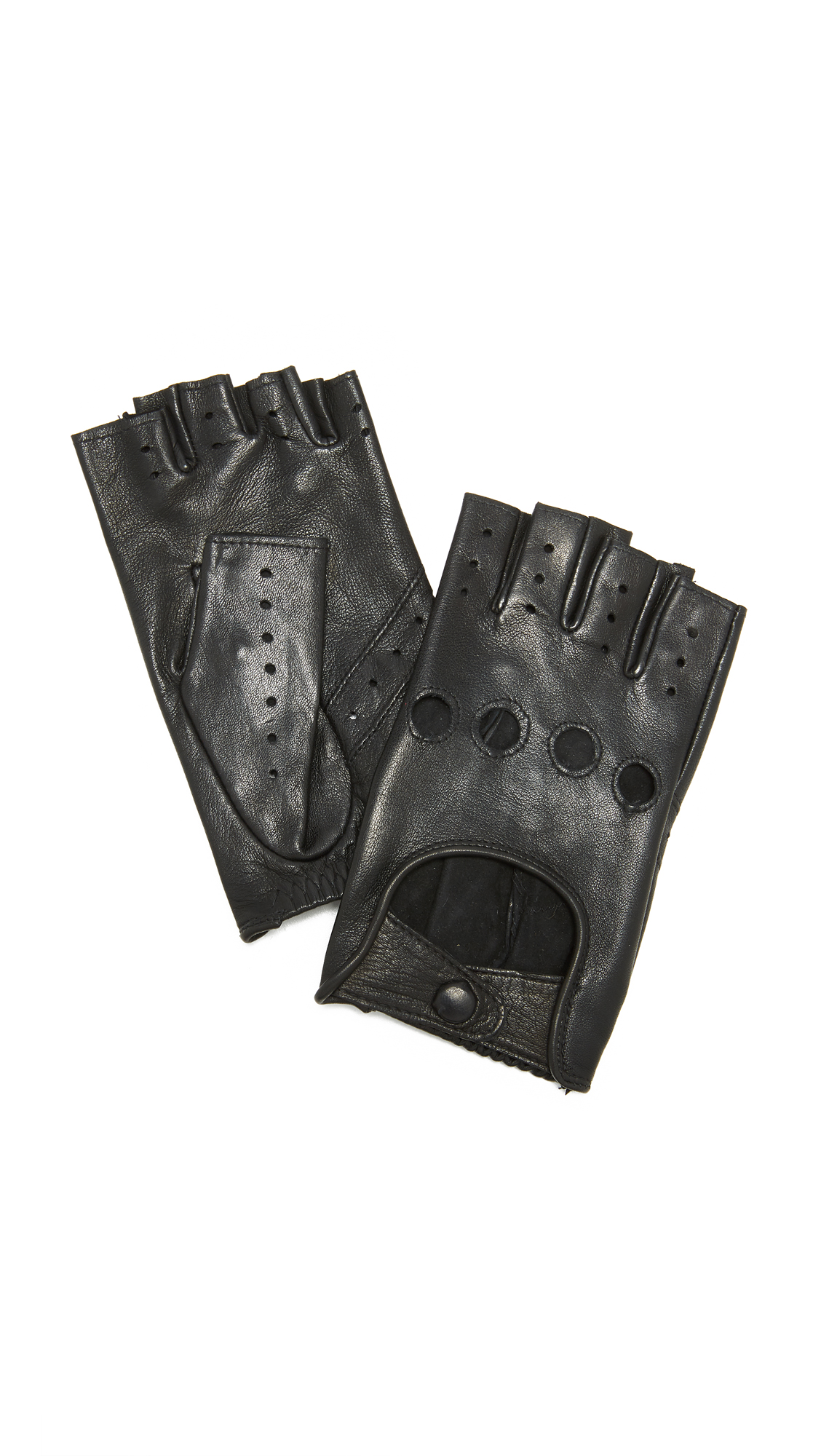 Agnelle Fayed Auto Leather Gloves - Black