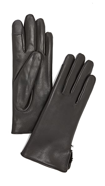 Agnelle Lapin Leather Fur Gloves at Shopbop