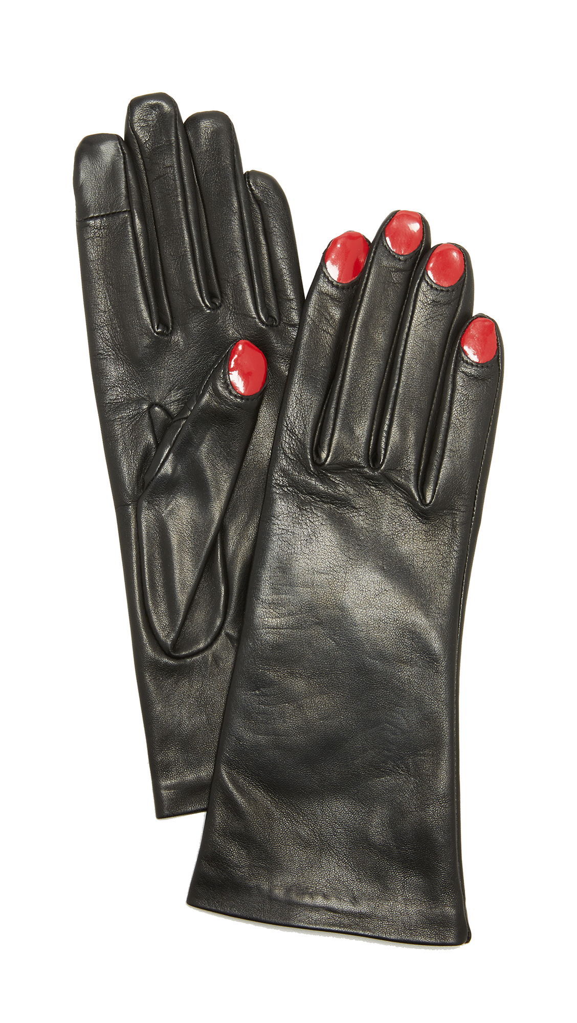Agnelle Elsa Leather Gloves - Black/Red