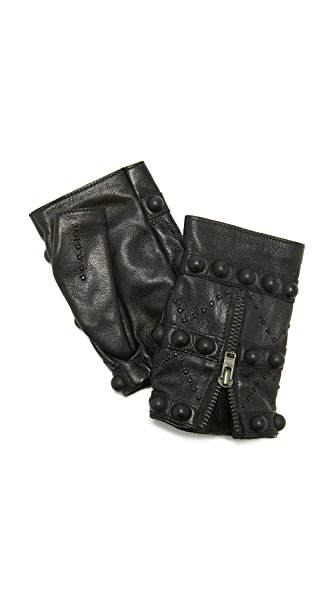 Agnelle Mitaine Studded Leather Gloves at Shopbop