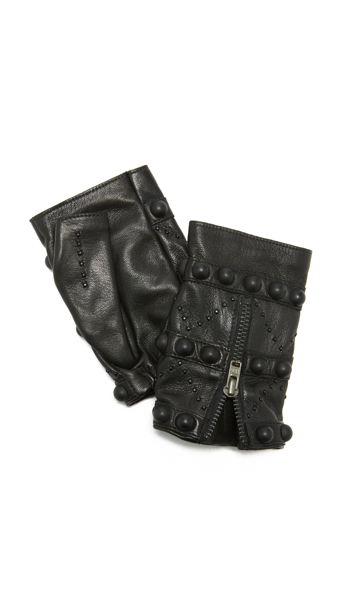 Agnelle Mitaine Studded Leather Gloves - Black