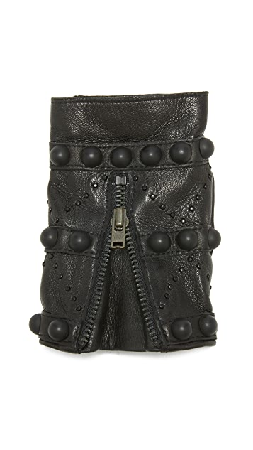 Agnelle Mitaine Studded Leather Gloves