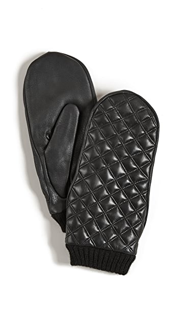 Agnelle Quilted Leather Mittens