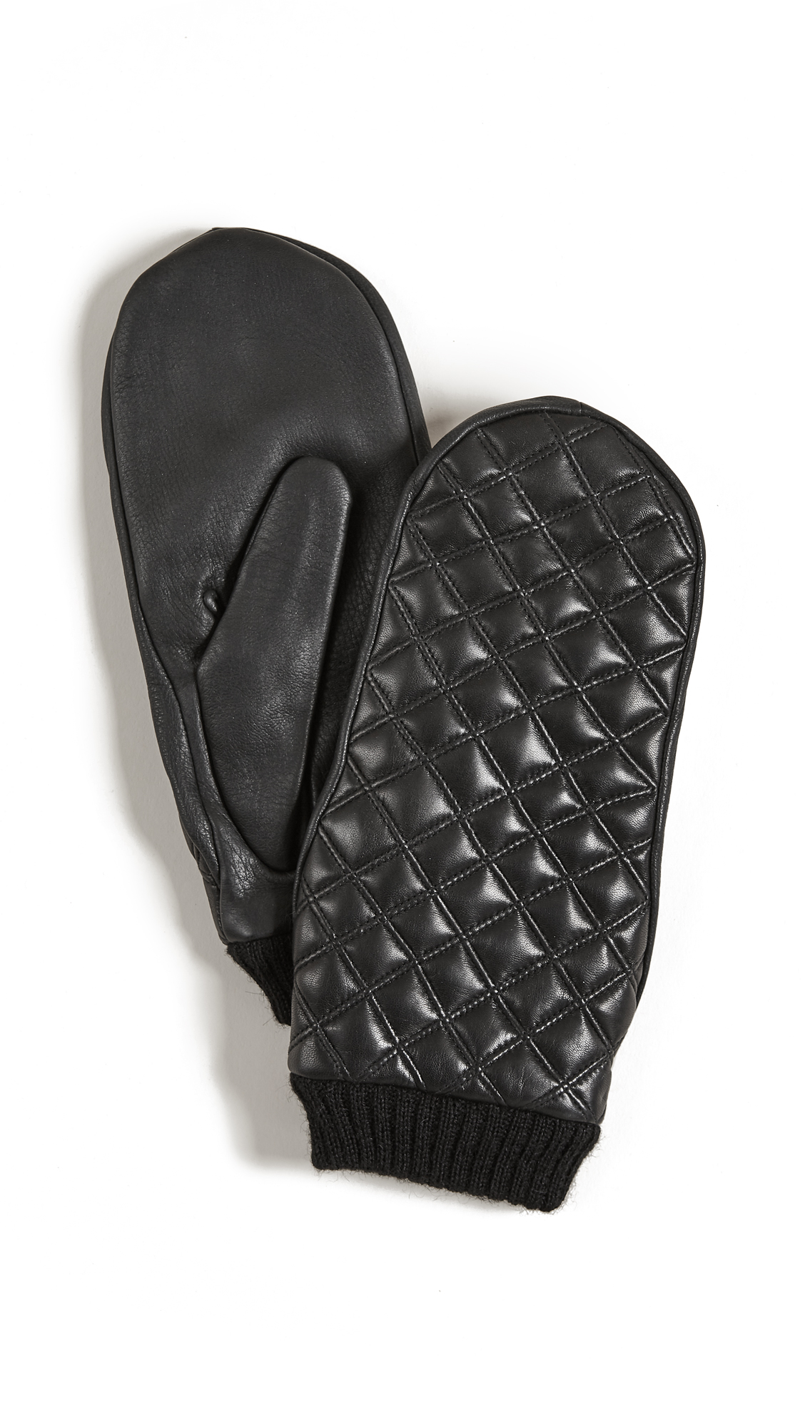 Agnelle Quilted Leather Mittens - Black