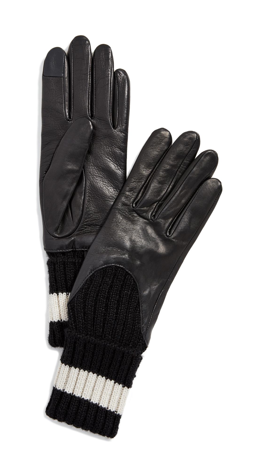Cecilia Sport Gloves, Black/White