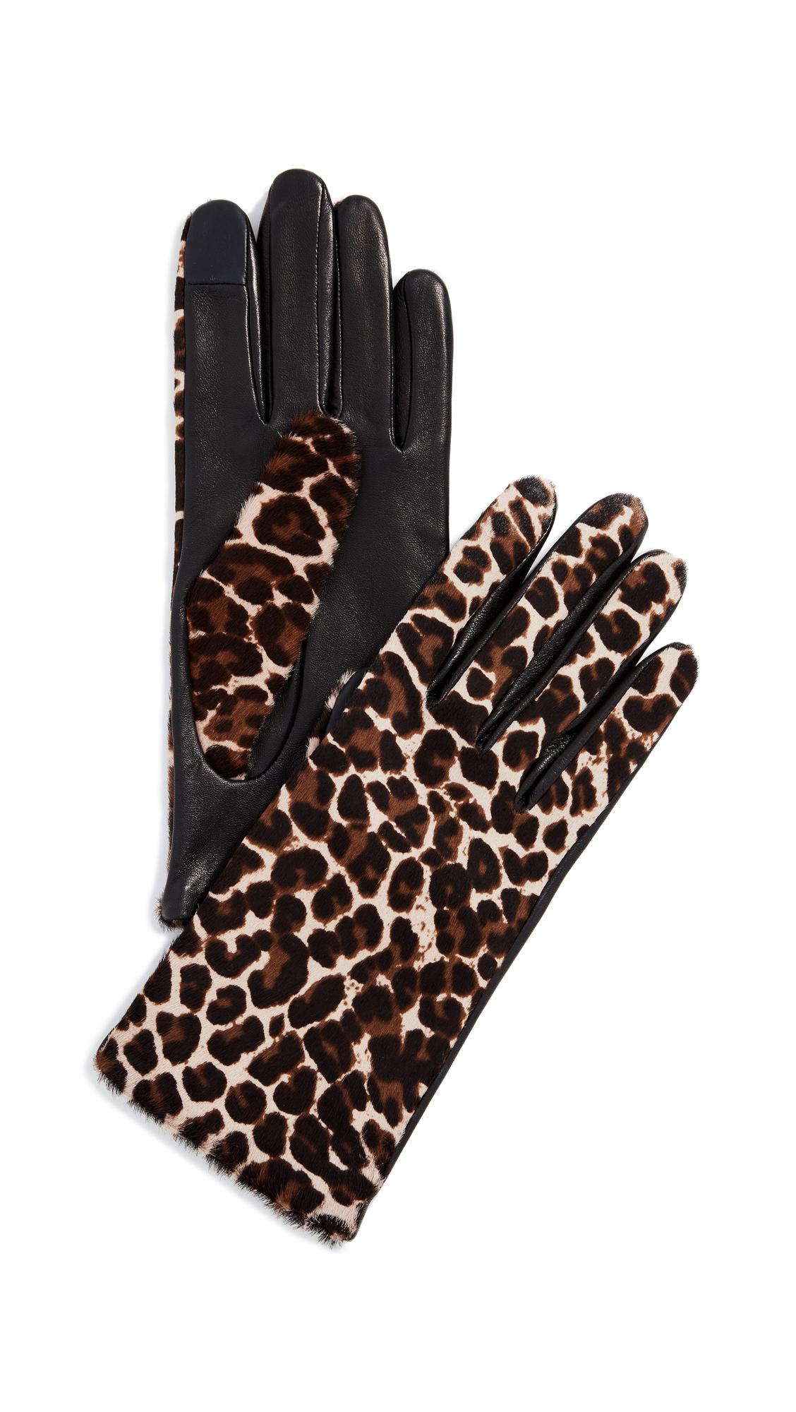 AGNELLE Chloe Calf Gloves, Leopard