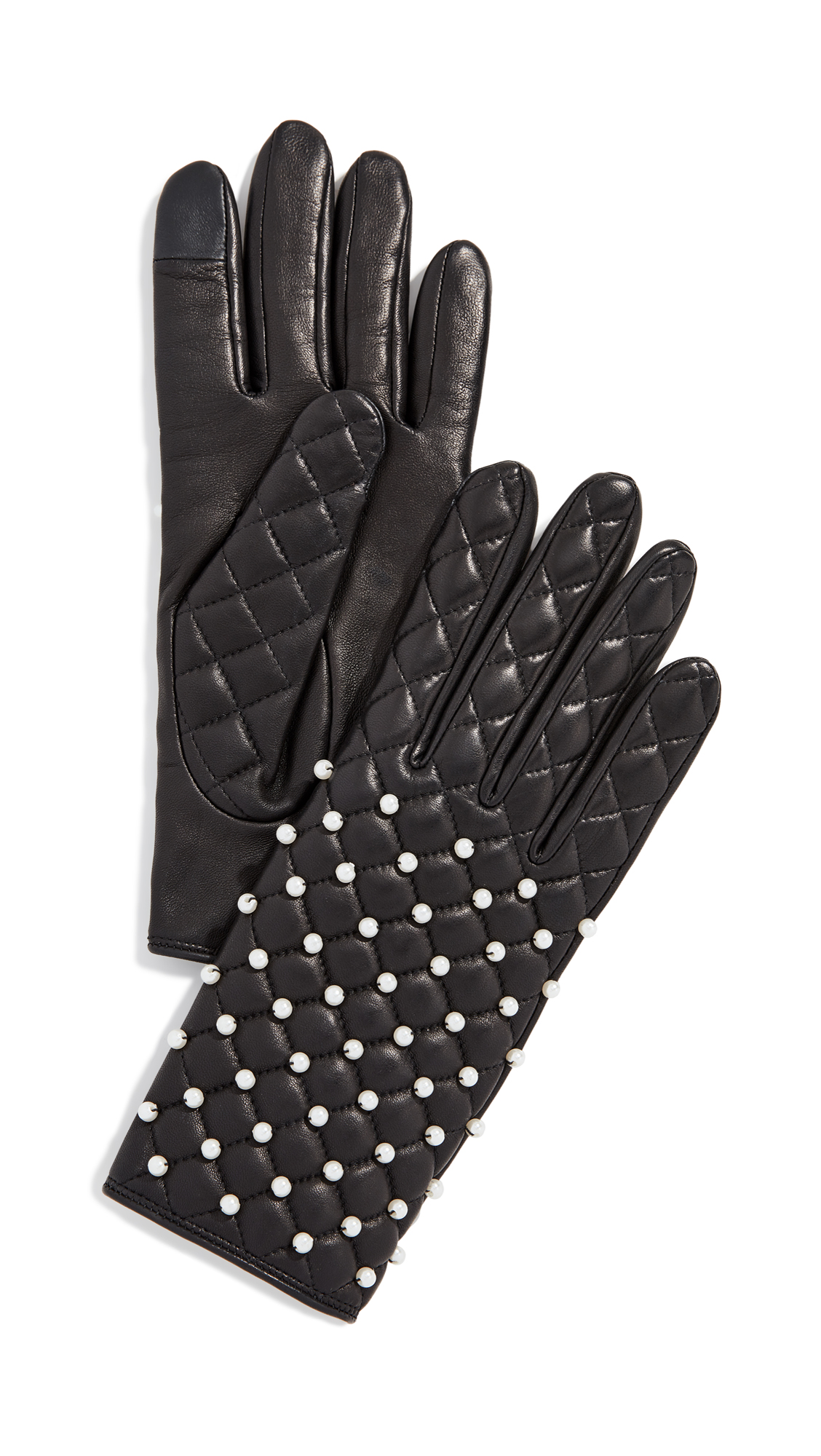 AGNELLE Chloe Pearl Gloves, Black/Pearl