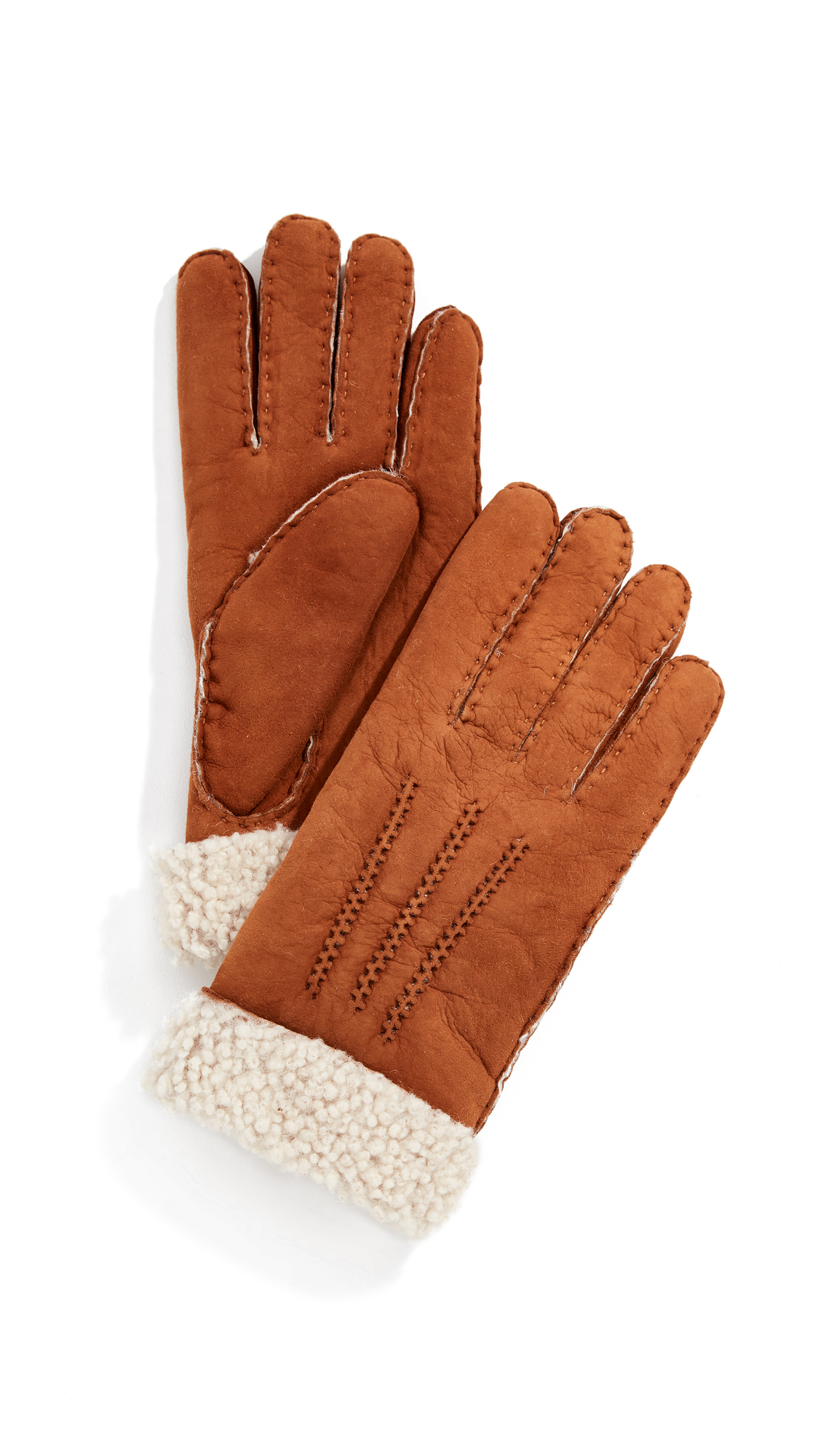 AGNELLE Curly Gloves, Tan