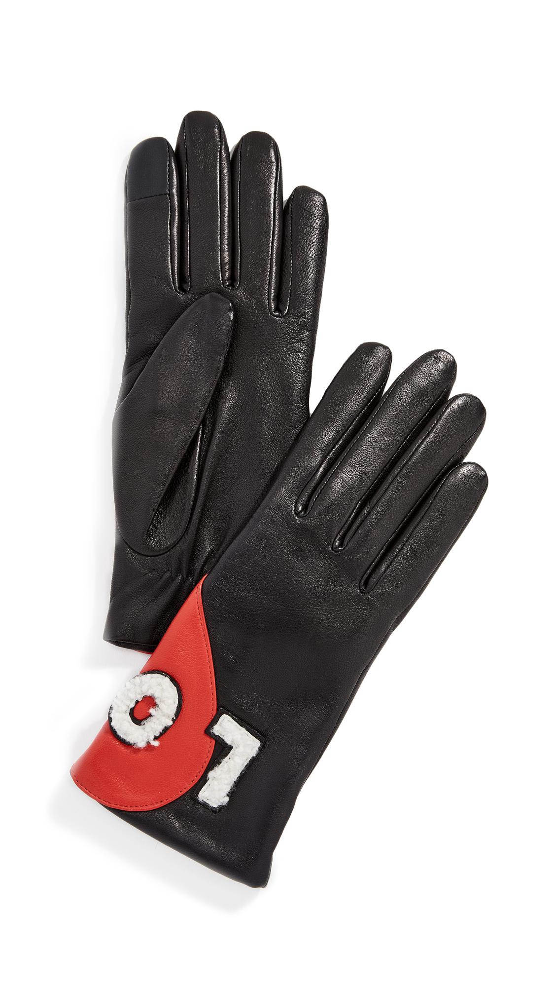 AGNELLE Love Gloves, Black/Red