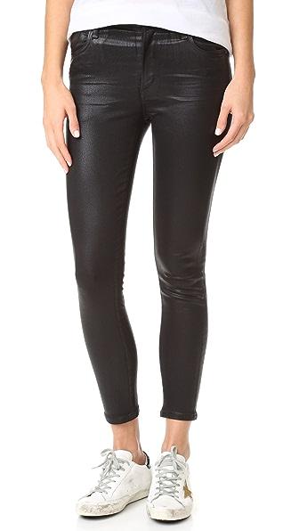 AGOLDE Sophie Hi Rise Skinny Crop Coated Jeans In Black Leatherette