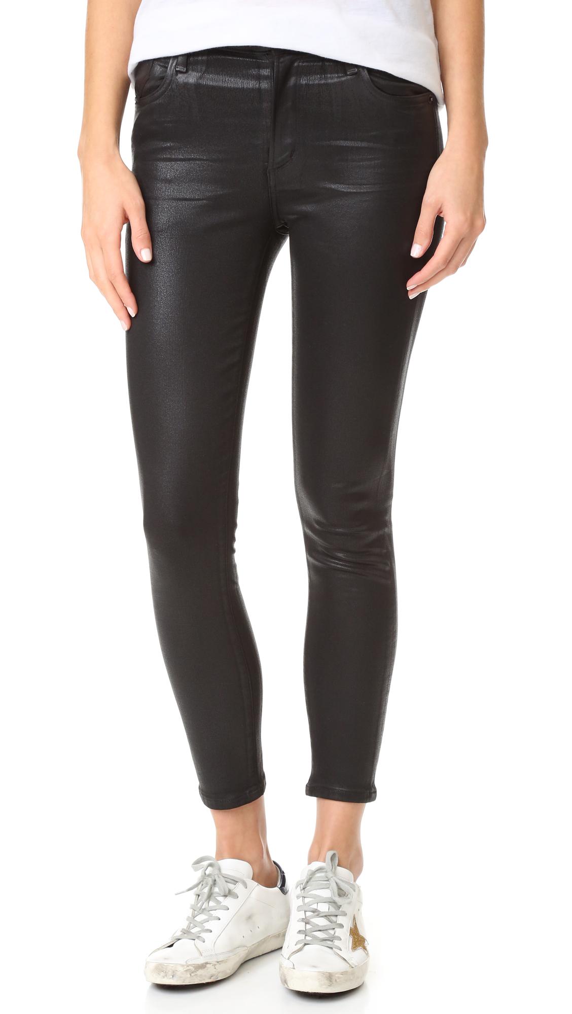 Agolde Sophie Hi Rise Skinny Crop Coated Jeans - Black Leatherette at Shopbop