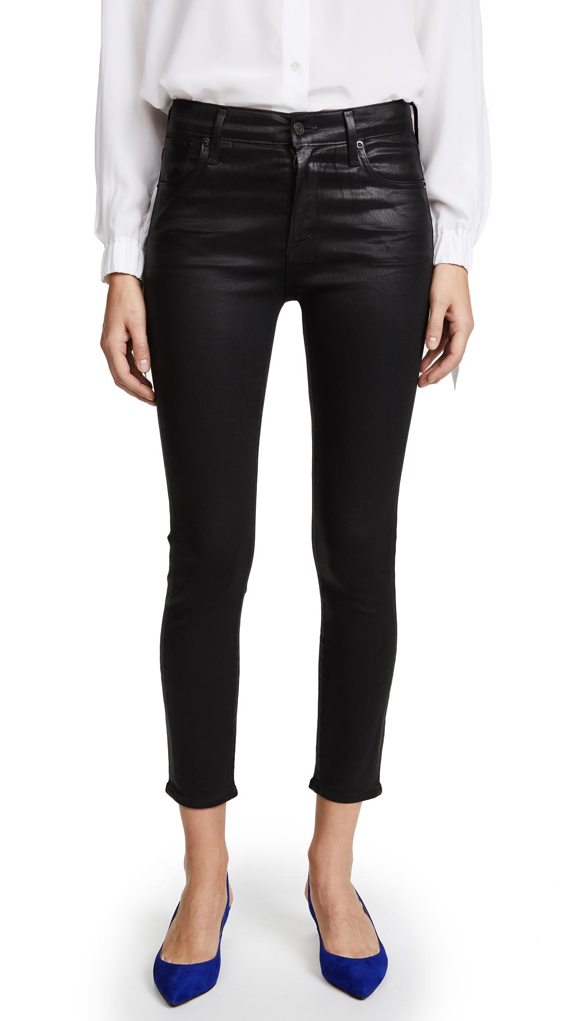 AGOLDE Sophie Hi Rise Skinny Crop Coated Jeans - Black Leatherette