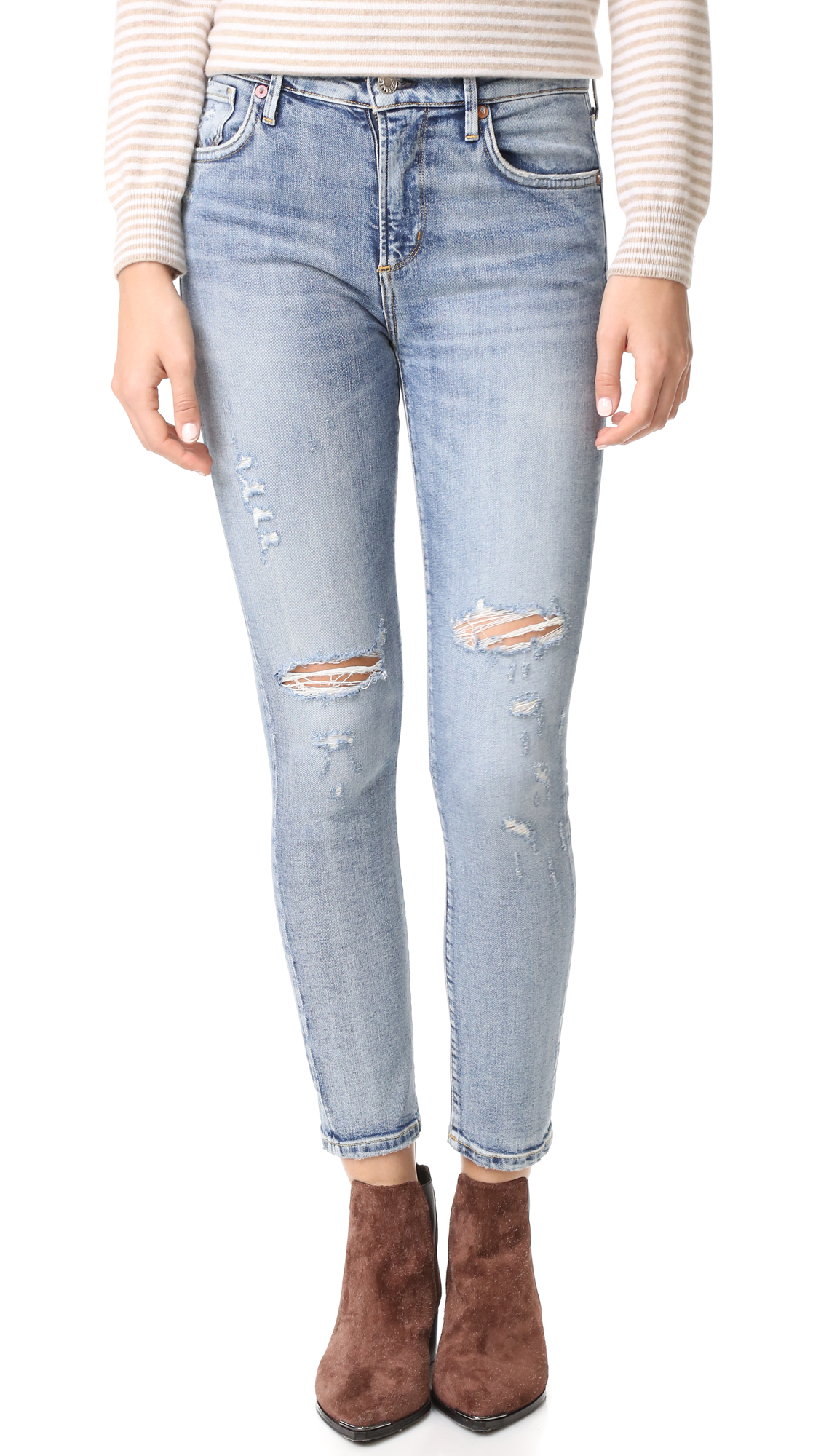Agolde Sophie High Rise Cropped Jeans - Outsider at Shopbop