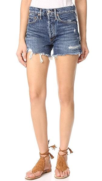 AGOLDE Parker Vintage Look Fit Cutoff Shorts - Heartbreaker