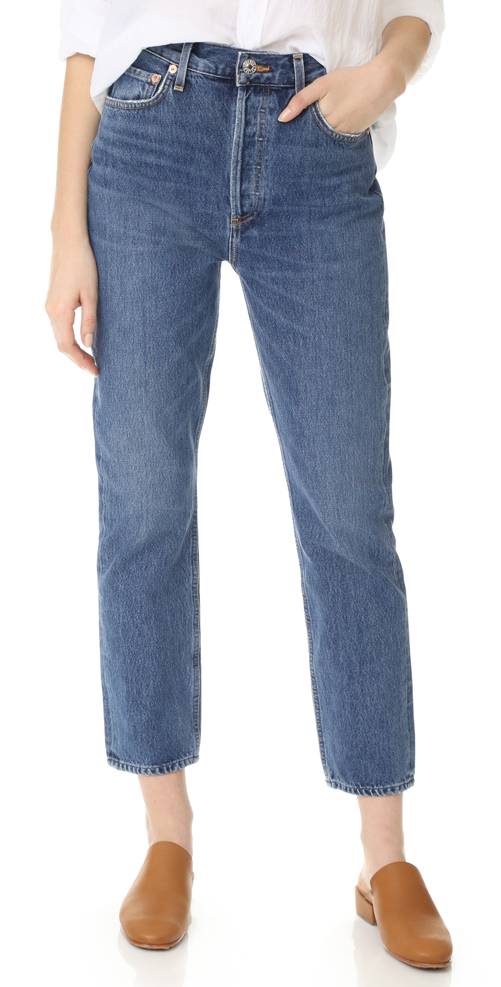 Riley High Rise Straight Crop Jeans AGOLDE