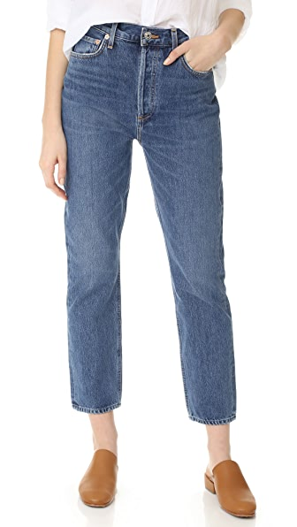 AGOLDE Riley High Rise Straight Crop Jeans In Air Blue