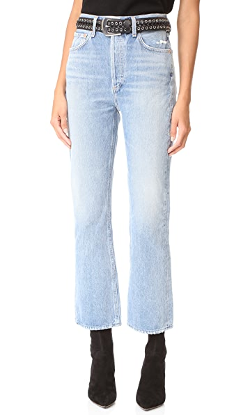 AGOLDE Taylor High Rise Crop Kick Flare Jeans - Blue Rock