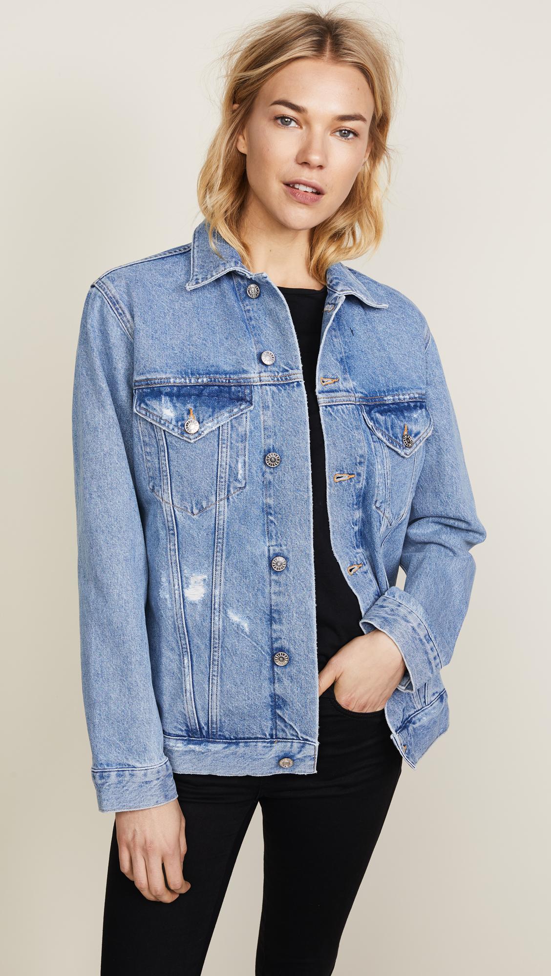 Womens Distressed Denim Oversized Jacket Size 8 10 12 14 Stonewash Blue