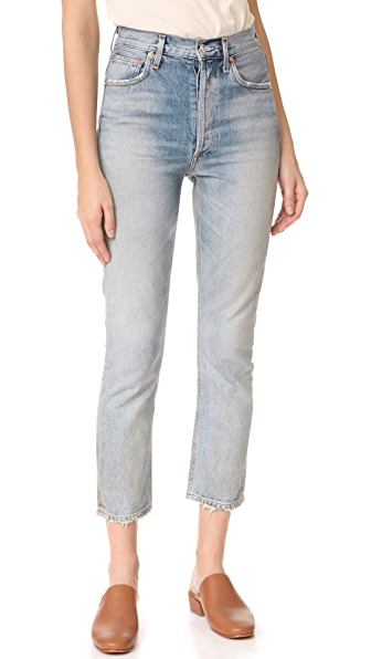 AGOLDE Riley High Rise Straight Crop Jeans - Vanished