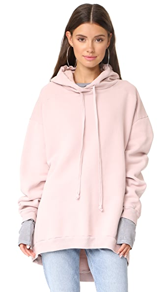 AGOLDE High Low Hoodie - Smoke Pink