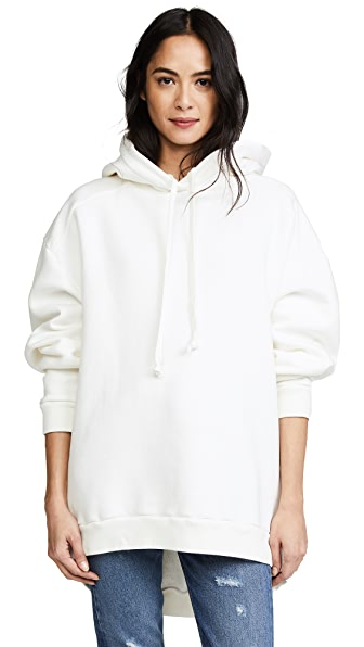 AGOLDE High Low Hoodie In Deco White