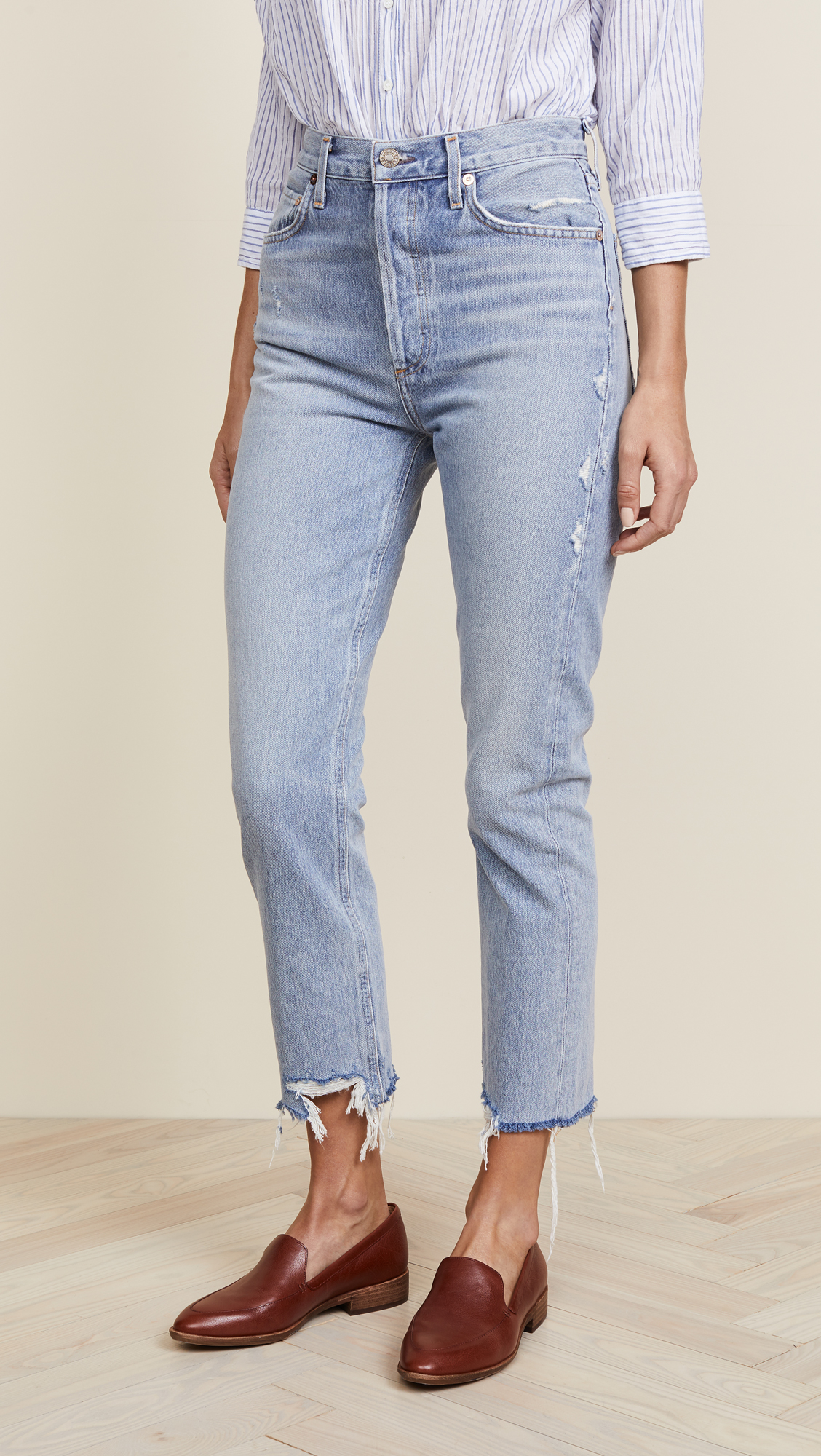 oversized distressed straight cut jeans - Blue Re/Done BJAUTsH