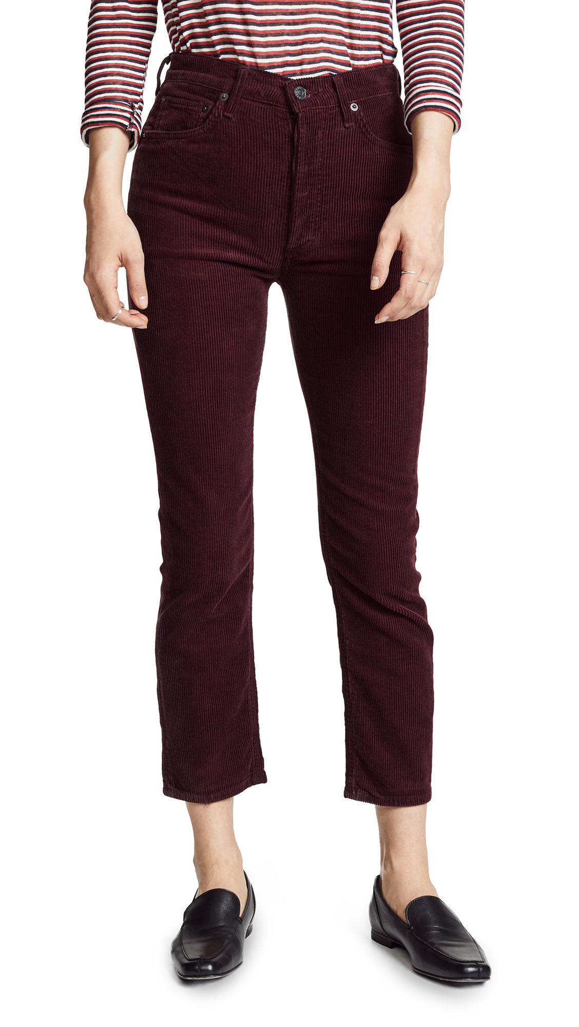RILEY CORDUROY HIGH RISE STRAIGHT CROP JEANS